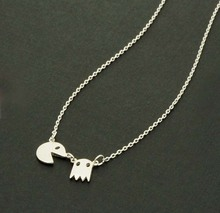 Collares 2015 Gold Silver Pac Man Retro Necklaces Fun and cute Angry Ghost Necklaces women fine