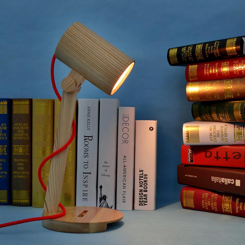 American Loft Vintage Industrial Solid Wood Reading Light Edison Desk Lamp E27 Bedroom(China (Mainland))