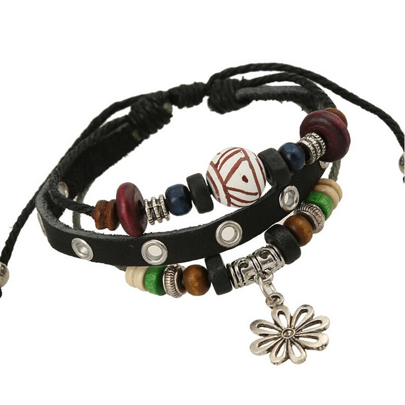 1 Pc / Lot Vintage Metal Plant Hollow Flower Pendant Bracelets For Women Leather Strap Ball Enamel Beaded Charm Bracelet Jewelry(China (Mainland))