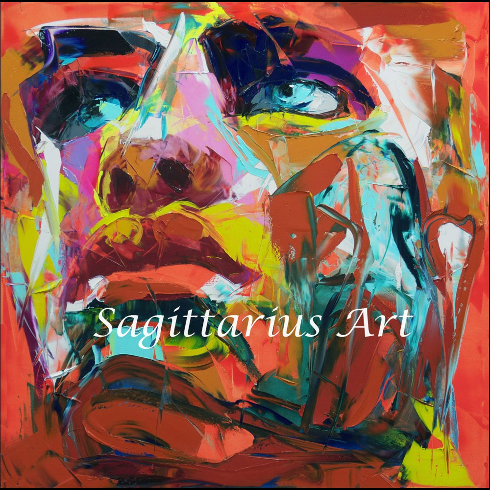 Buy High quality Francoise Nielly Designers Hand Painted Palette knife Abstract Oil Painting Canvas Home Living room face Fine Art cheap