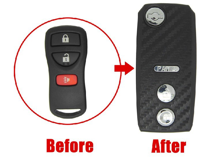 2013 HOT ITEM REPLACEMENT CASE Modified Flip FOLDING Remote Key Shell Livina,Tiida (3D Carbon Fiber Sticker) 2+1B