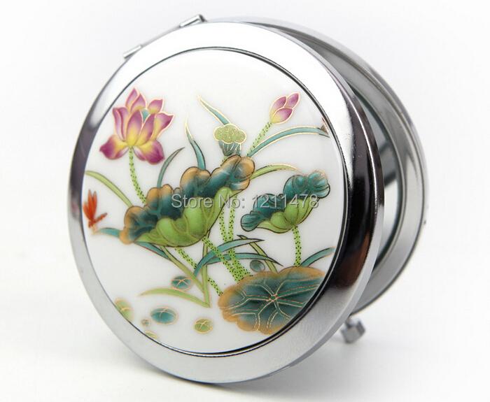 Beautiful and cheap ceramic + metal portable makeup mirror pocket mirror(China (Mainland))