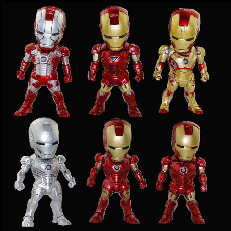 6pcs/Set The Avengers Iron Man 3 MK42 LED Flash PVC Action Figures Collection Model Toys Dolls Mobile Phone Car Ornaments Gift(China (Mainland))