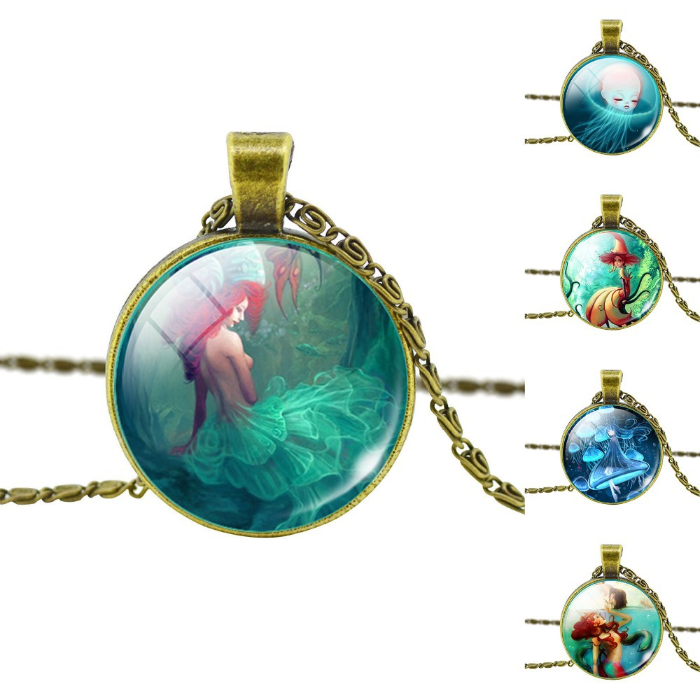 Fashion Bronze Pendant Necklace Vintage Fairy Marine Organisms Statement Chain Necklace Classic Jellyfish Necklace in Jewelry(China (Mainland))