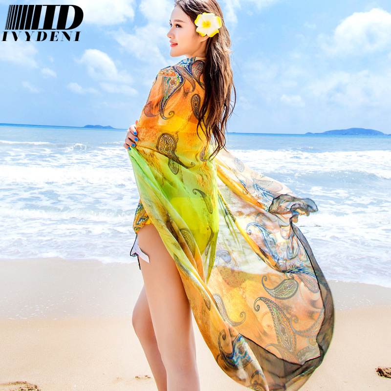 2016 Cashew Pattern Printed Oversized Scarf Shawl Summer Sarong Beach Coverups Women Chiffon Silk Scarf Transparent Pareo Beach(China (Mainland))
