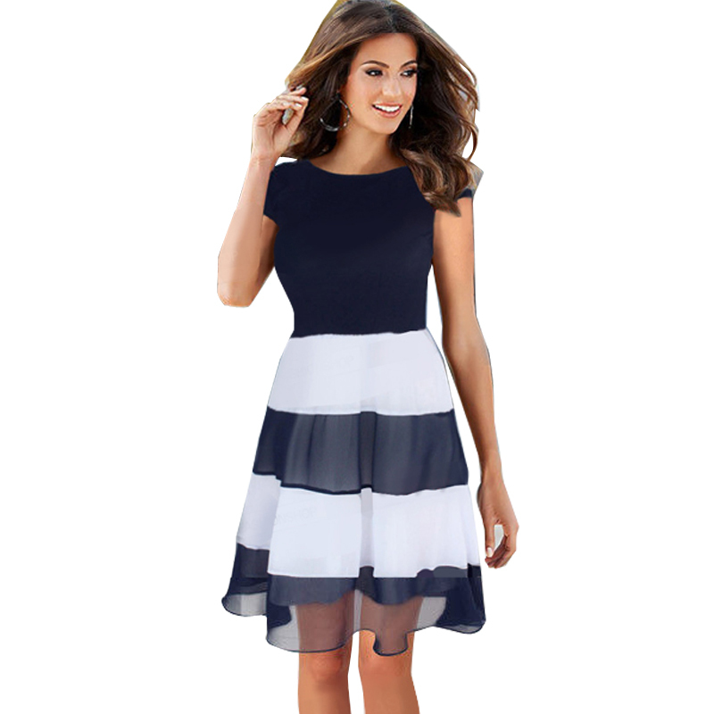 2015 New Fashion Women Patchwork Spring Summer Dress Chiffon Striped Cocktail A Line Skater Cute Casual Style Girl Dresses 776(China (Mainland))