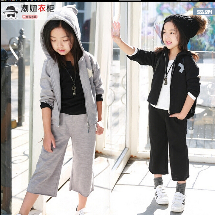2016 spring new girls casual and simple style big zipper hooded cardigan + wide leg pants suit<br><br>Aliexpress