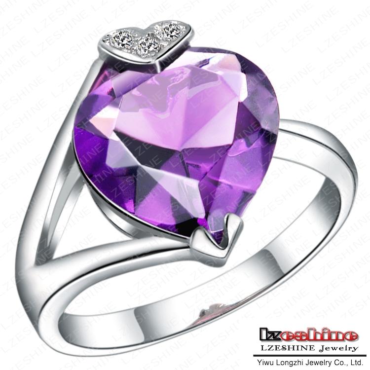 Hot Drama Purple Zircon Heart Ring Real Platinum Plated AAA Cubic Zirconia Diamond Girls Rings WX-RI0074(China (Mainland))