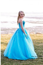 Vestidos de fiesta Plus Size Ball Gown Long Elegant Blue Prom Dresses 2015 Party Gowns Sexy Lace Floor Length Customized Hot - Tiandihaoqing wedding dress store