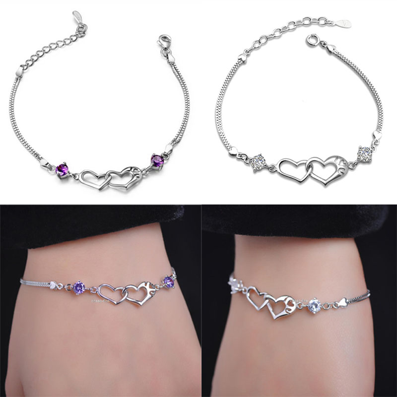 Hot 925 Silver Color Jewelry Bracelets Crystal Love Heart Charm Chain Bracelet New Design Free Shipping(China (Mainland))