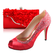 Hot red pleated crystal rhinestone high heel shoes with 3D flower clutch hangbag bag party banquet prom evening small big size(China (Mainland))