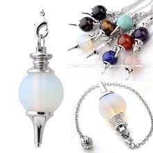 Pendulum Opalite Pendant Chakra Dowsing Reiki Healing Gem stone Chain Wicca(China (Mainland))