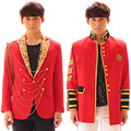 S 5XL 2016 Fashion stage Costume male bi for gba ng exo fashion suit red performance