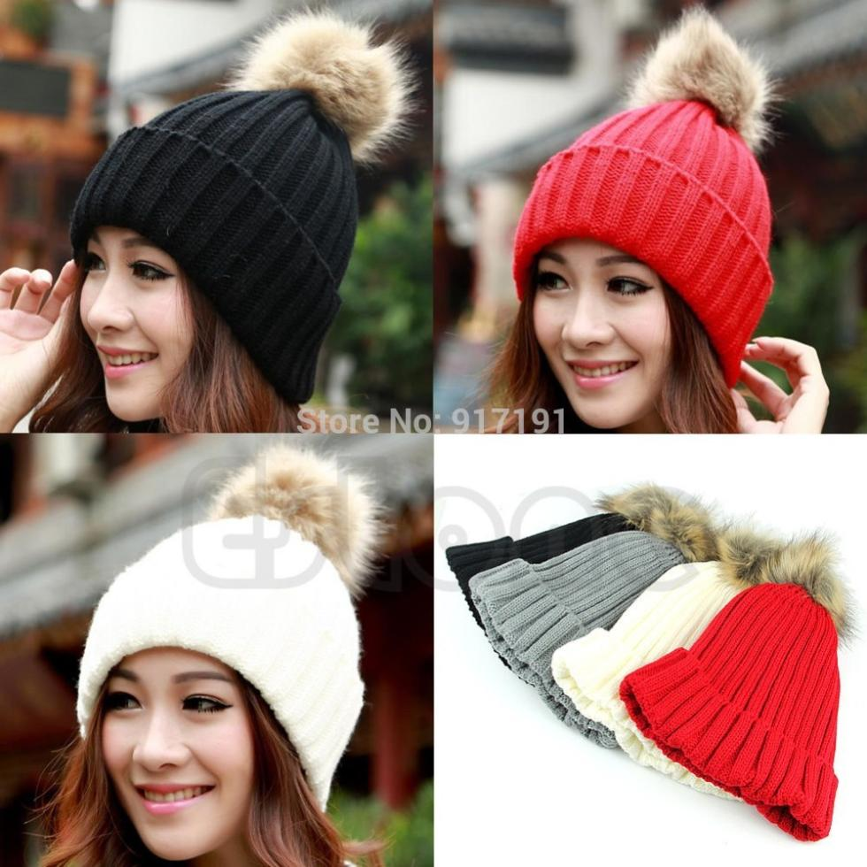 Vogue Women's Candy Beanie Knitted Caps Crochet Faux Raccoon Rabbit Fur Pompons ball hat Curling Ear Protect Women Beanies(China (Mainland))