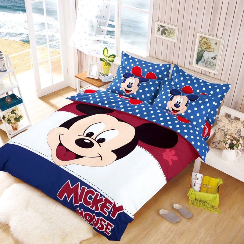 Kids Mickey Minnie Mouse Present Cotton Bedclothes Bedding. Mickey Mouse Bedding Set Full Size   Tokida for