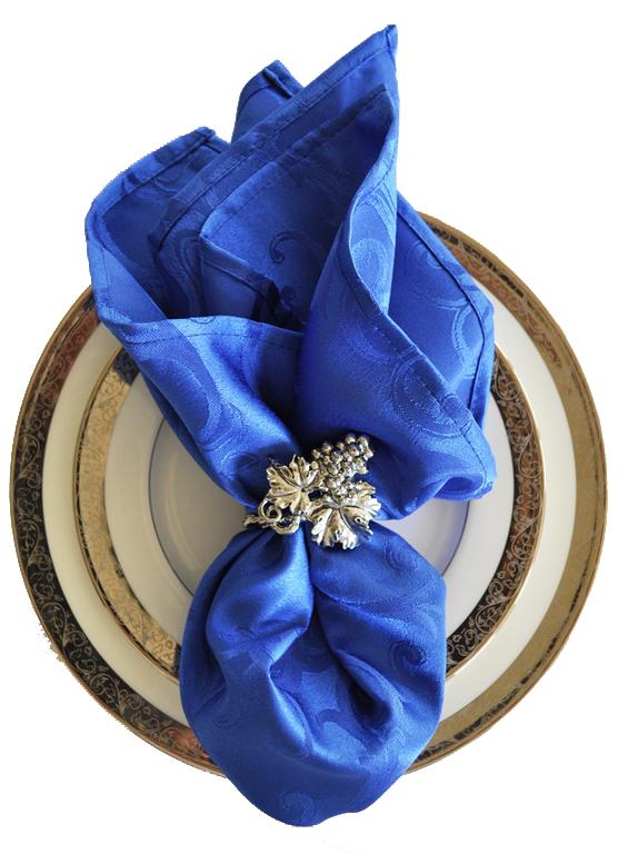 "20"" x 20"" Jacquard Damask Napkin Polyester Cloth Napkins Table Napkins White navy blue Napkinss handmade napkins f(China (Mainland))"