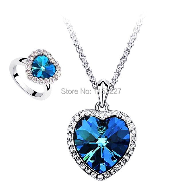 Free shipping 2015 diamante blue silver titanic heart of the ocean necklace (sell by set)(China (Mainland))