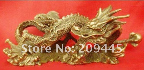 Chinese Bronze brass Dragon Statue 100% free shipping(China (Mainland))