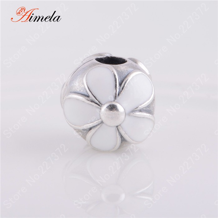 New 2014 White Enamel Cherry Blossom Stopper Clip Beads 925 Sterling Silver Jewelry Suitable for Pandora Style Charm Bracelet
