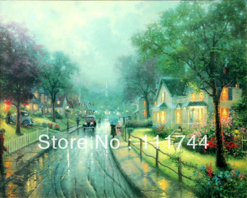 Horizontal,Hometown Memories,oil paintings,hand-painted,Thomas Kinkade painting,painting on canvas,reproduction,oil on canvas(China (Mainland))