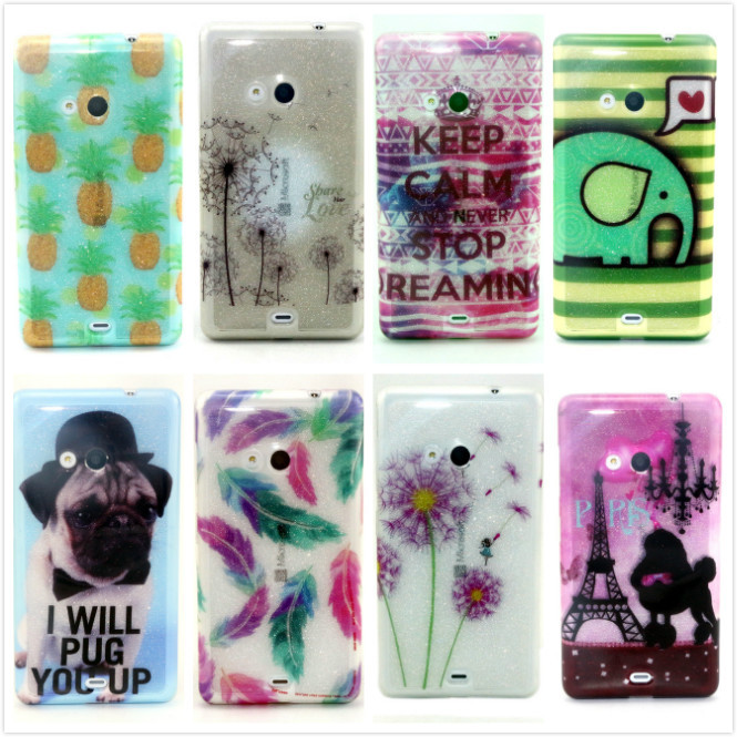 Luxury Shiny Glitter Cute Cartoon Dog Bright Painted TPU For Microsoft Nokia Lumia 535 N535 Silicon Rubber Case Back Cover,PT592(China (Mainland))