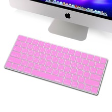 for Magic Keyboard Arabic Keyboard Cover, XSKN Pink Soft Silicone Arabic Keyboard Protective Film Skin for Apple Magic Keyboard