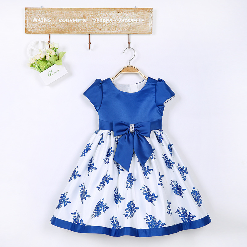 2015 New Girls Dress Summer Bow Floral Princess Dress(China (Mainland))