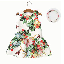 2016 New 2-10T summer girls dresses fashion european style strawberries green floral kids dress with a gift headband