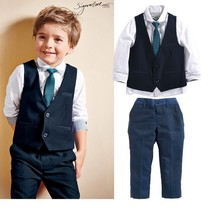 3pieces set autumn children's leisure clothing sets baby boy suit vest gentleman clothes for weddings formal clothing  BK0002(China (Mainland))