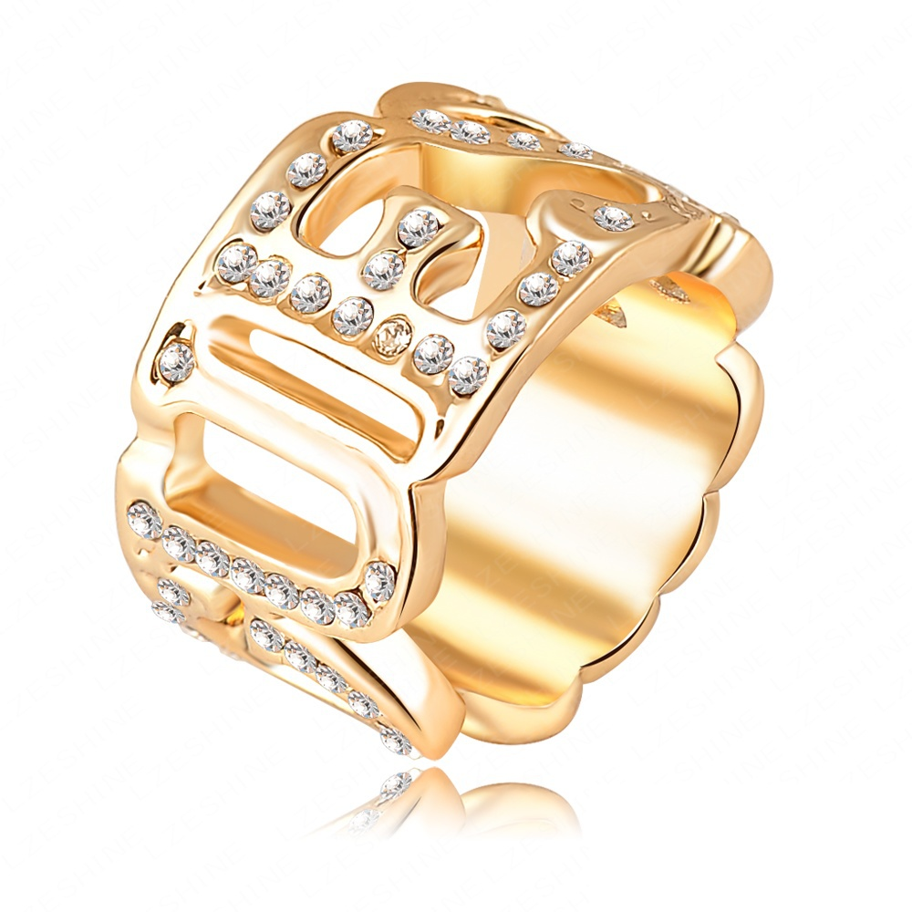 Fashion brand crystal vintage rings word ring 18k gold for Furniture 5 letters word whizzle