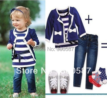 Retail 2015 baby girl three-piece sets cardigan coat +t shirt+jeans pant children kid clothes suit 5 size
