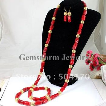 Stunning! Native American Style Red Coral Set  Long Coral Necklace Set Gold Plated Fashion African Jewelry Set CNR071