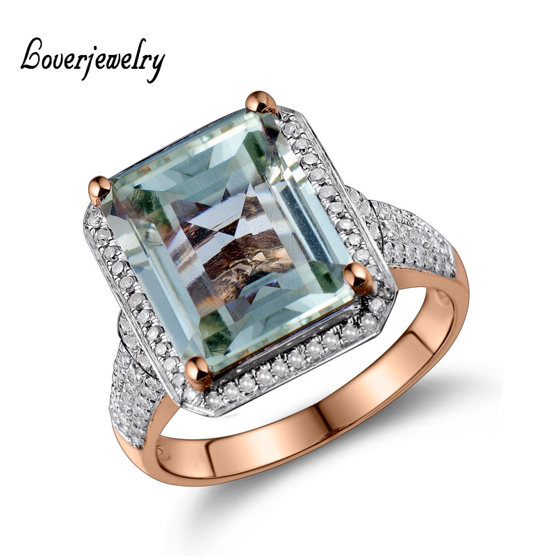 Emerald Cut  Natural Amethyst With Diamond Engagement Ring In Solid 14Kt Gold 10x12mm G00326<br><br>Aliexpress