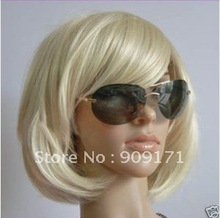 free Shipping***2012 new Sexy Fashion short blonde straight Women's wig + gift(cap)(China (Mainland))