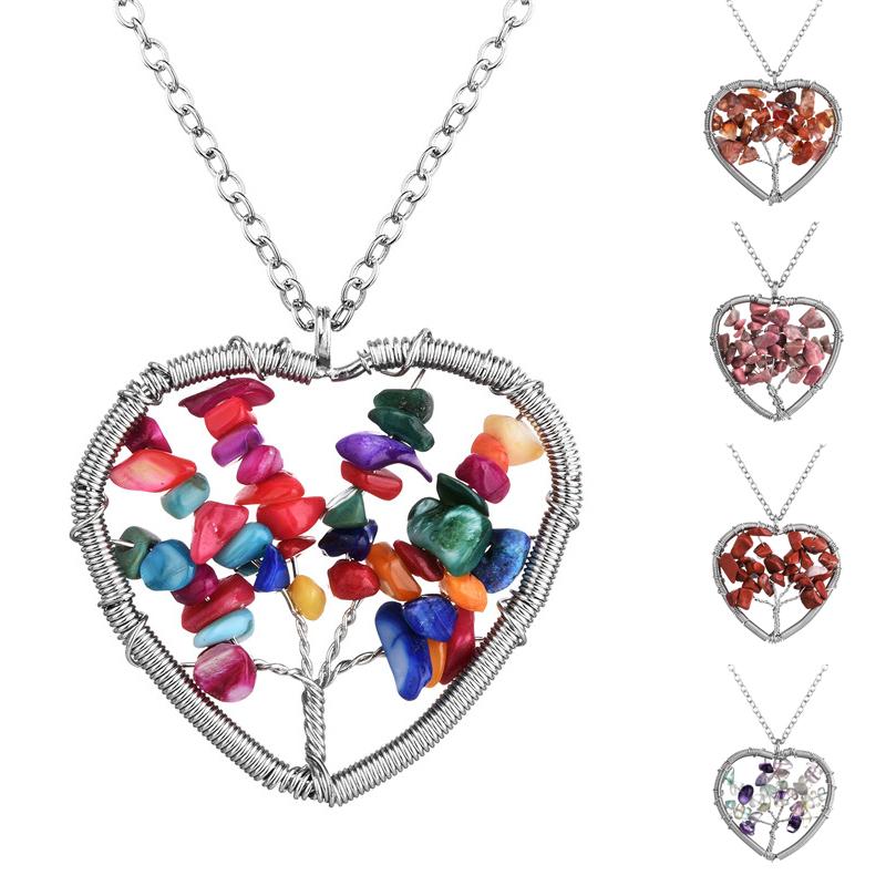 Handmade Natural Stone Jewelry Chakra Amethyst Quartz Chips Tree of Life Shaped Pendant Choker Heart Necklace for Women Party(China (Mainland))