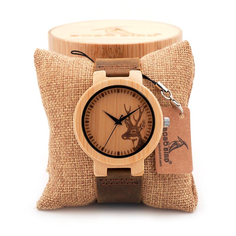 БОБО ПТИЦА Watch Подарок Выгравированы Лося Головы Натуральные Деревянные Часы Из Натуральной Кожи Люксовый Бренд Наручные Часы с Бамбуковой Коробке