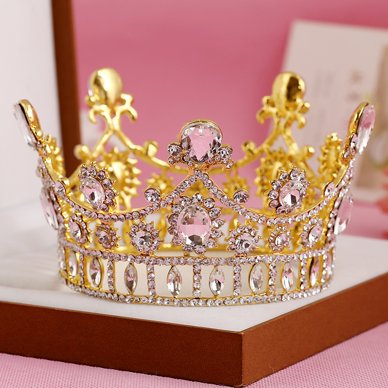 Unique Vintage Bridal Tiaras Crown Gold Plated Clear Rhinestone Crystal Round Wedding Hair Accessories(China (Mainland))