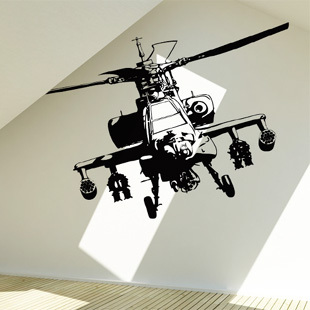 Free Shipping Wholesale Wall stickers Home Decor Size:560mm*830mm PVC Vinyl Removable Art Mural Helicopter Fighter P-27(China (Mainland))