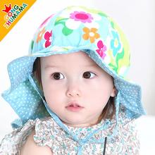 2016 New Fashion Spring Summer Baby 100% Cotton Outdoor Hat Cap Bucket Sun Hat for Baby Children Boy Girls 6-36 Months(China (Mainland))