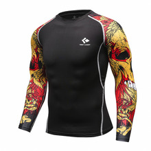 Buy Men Compression Shirts MMA Rashguard Keep Fit Fitness Long Sleeves Base Layer Skin Tight Weight Lifting Elastic Mens T Shirts for $5.99 in AliExpress store