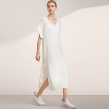 The new autumn women's fashion personality sweep vent casual V-neck one-piece dress twinset free shipping