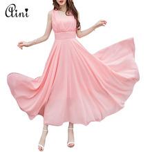 Buy New Fashion Cheap Women A-line Long Dress V-neck Sleeveless Sexy Chiffon Bohemian Maxi Dresses Vestido de festa Plus Size S-5XL for $13.30 in AliExpress store