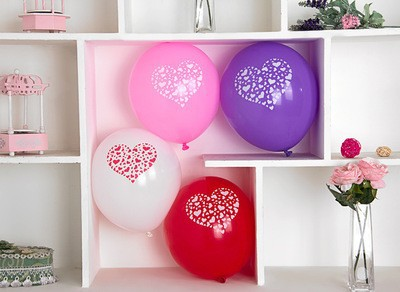 20pcs big latex 12 inch round thicken balloons printing heart birthday party valentine's day decoration romantic sweet love gift(China (Mainland))