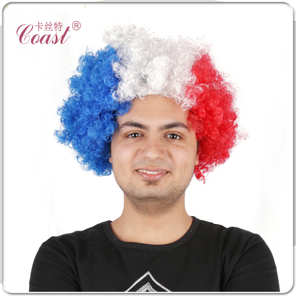 5 (120 g) Beautiful Red&amp;White&amp;Blue Color Of Fans Wig Short  Afro Kinky Curly Hair For Party / Festival Accessory<br><br>Aliexpress