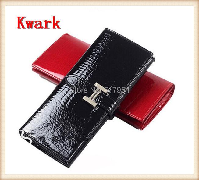 2014 Classic Crocodile Design Women Clutch Genuine Leather & PU Brand Wallet Luxurious Two Fold Long - Kwark International Trade Co. , ltd store