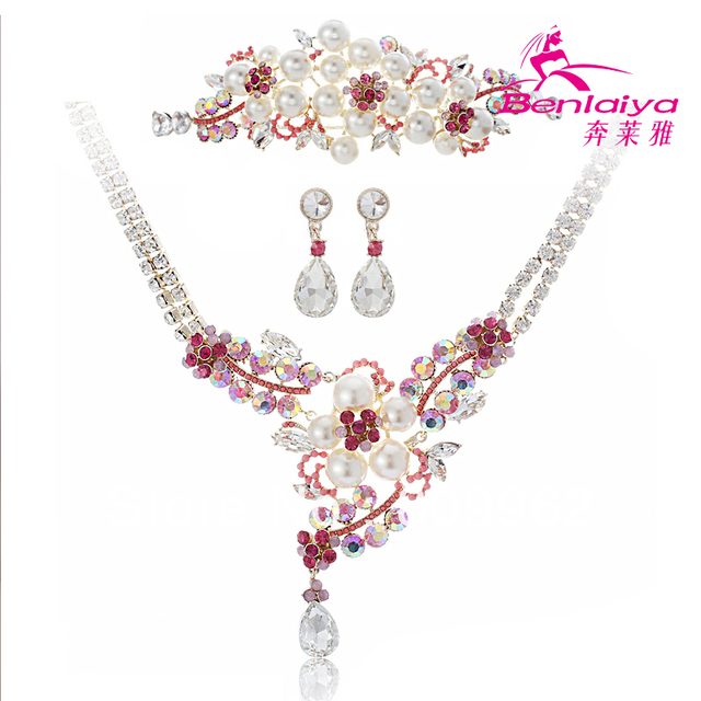 2013 News Free Shipping Fashion Pearl Jewelry Sets Flower Bridal/Wedding Necklace Earrings Tiara Colorful Jewelry Accessories