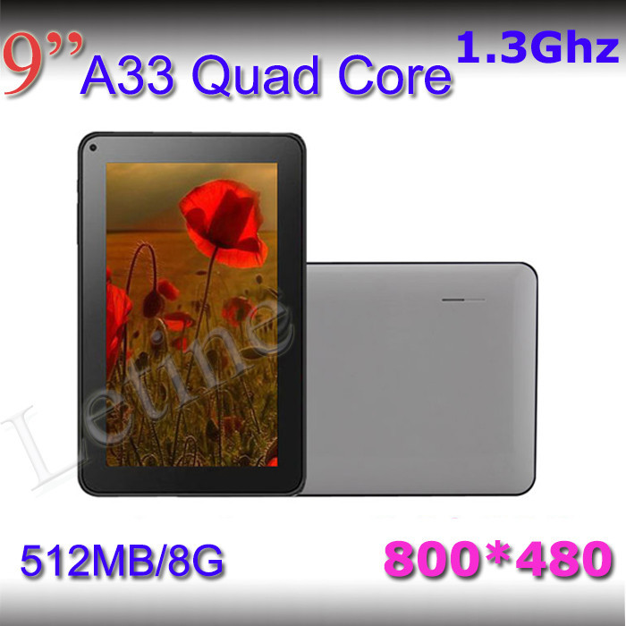 1 Piece Quad Core Android 4.4 9 inch A33 1024*600 HD screen 1G/8G Free shipping kids External 3G Dual Camera Mini Tablet pc