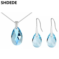2016 New Women Jewelry Set Crystal from Swarovski White Gold Plated Necklace Earring Sets Long Water Drop Dangle Earrings 310