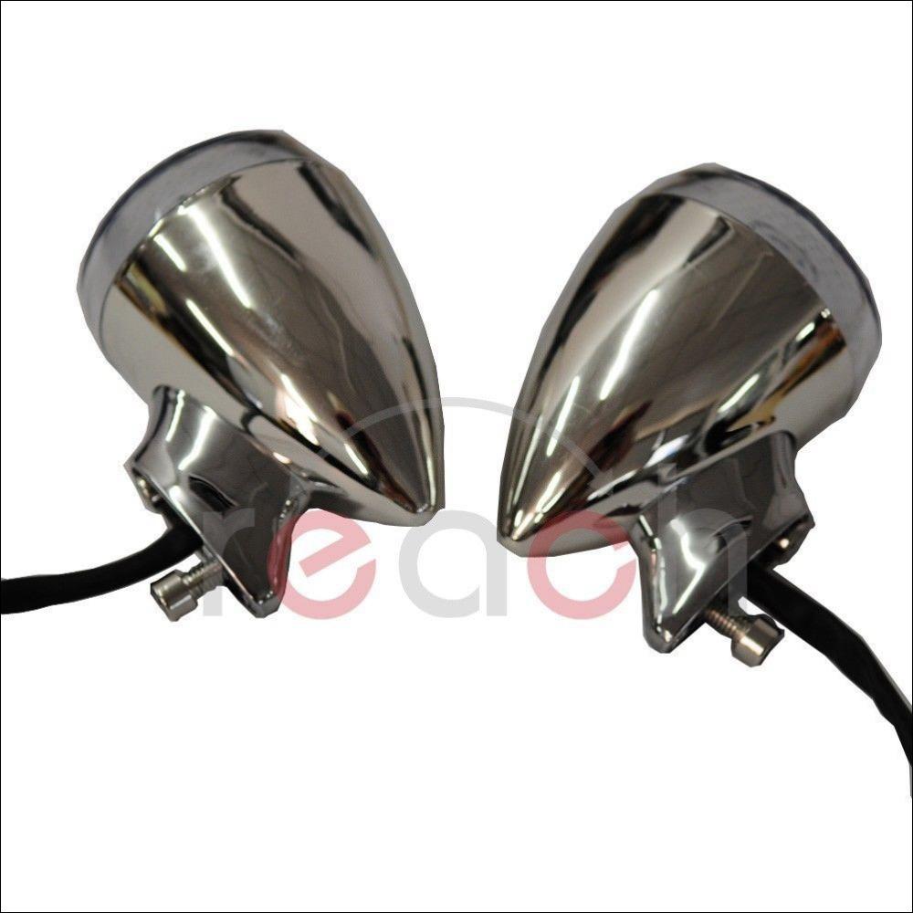 Pair Motorcycle Chrome Rear LED Turn Signal Amber license Running Light Indicator For Harley(China (Mainland))