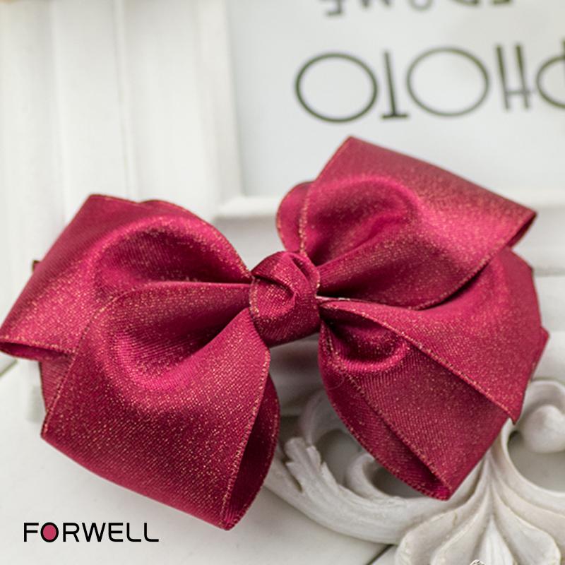 Golden ribbon red satin hair big bow hair accessories hair pins clips for women girls wedding handmade DIY barrettes head flower(China (Mainland))